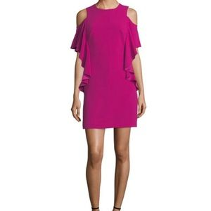 Trina Turk Cold Shoulder Dress Magenta Sz 14